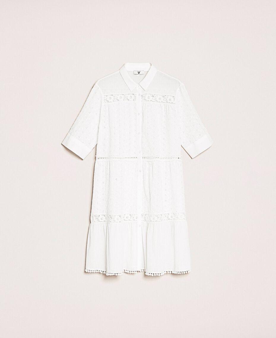 Robe chemisier en broderie anglaise et dentelle Blanc Femme 201LM2LCC-0S
