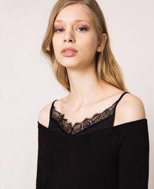 Robe en maille de satin style nuisette Noir Femme 201TP3070-03