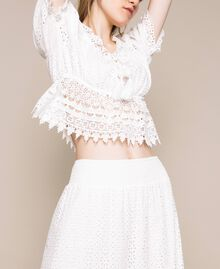 Broderie anglaise long skirt with lace White Woman 201LM2LJJ-05