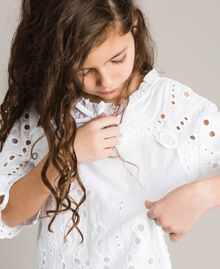 Muslin blouse with broderie anglaise embroidery White Child 191GJ2622-04
