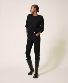 Mixed stitch work jumper Black Woman 202MP3210-0T