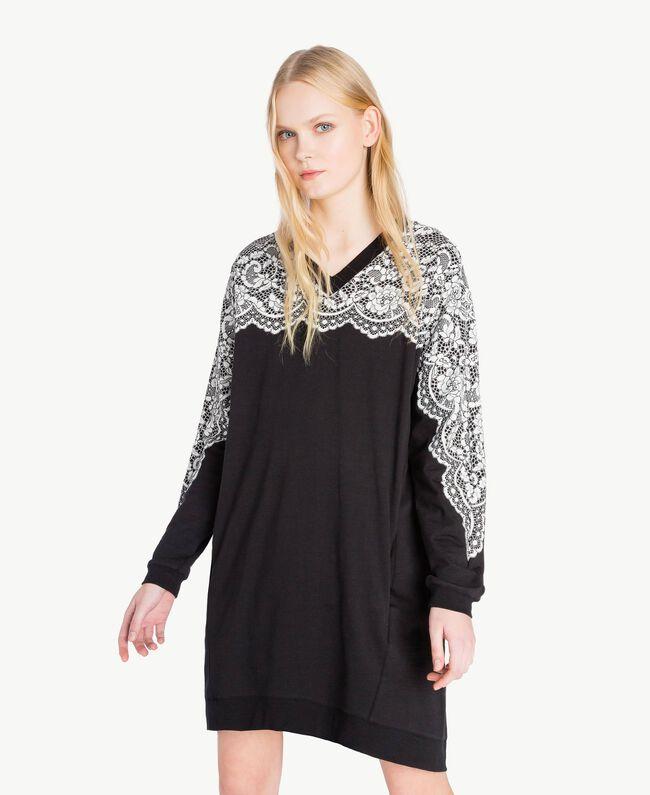 Kleid mit Spitze Schwarz Frau JS82H4-04