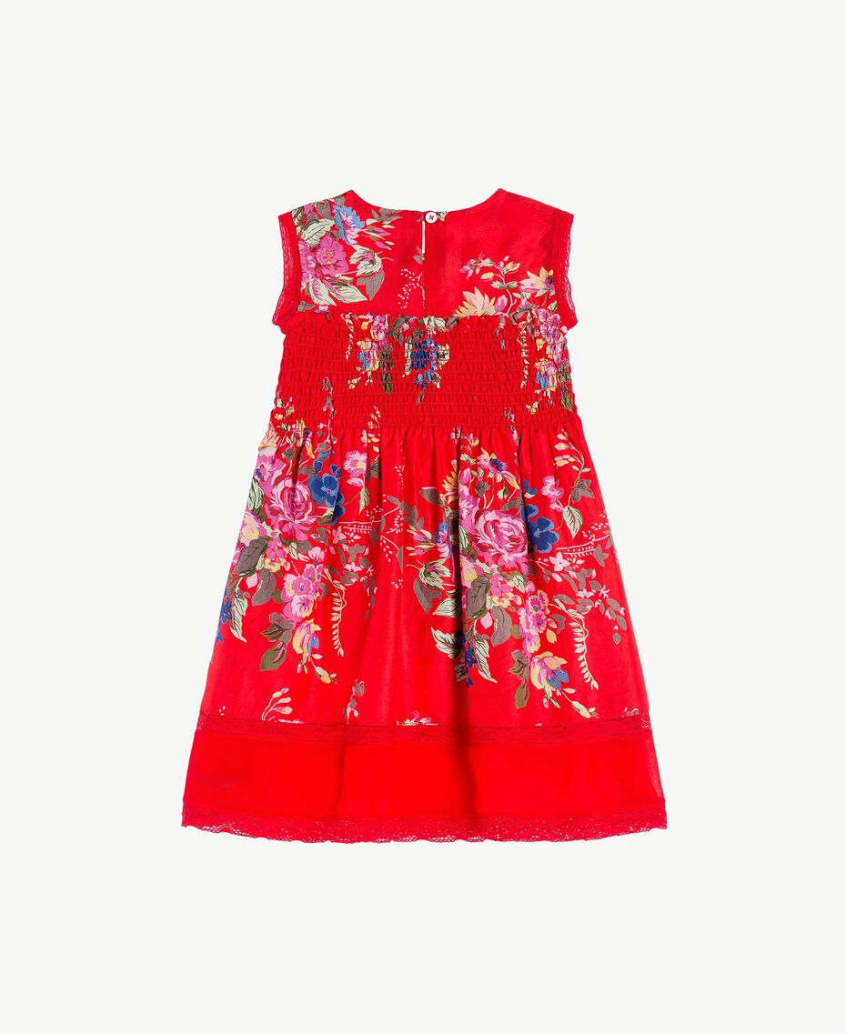 Kleid aus Seide Blumenprint / Granatapfelrot Kind FS82EN-02
