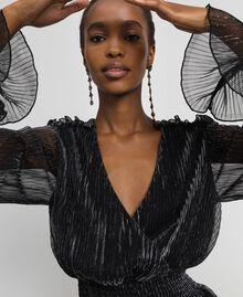 Long dress in metal creponne tulle Black / Silver Woman 192MT2141-05