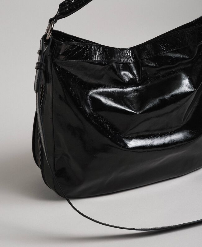 Crackled effect leather hobo bag with studs Black Woman 192TA7236-04