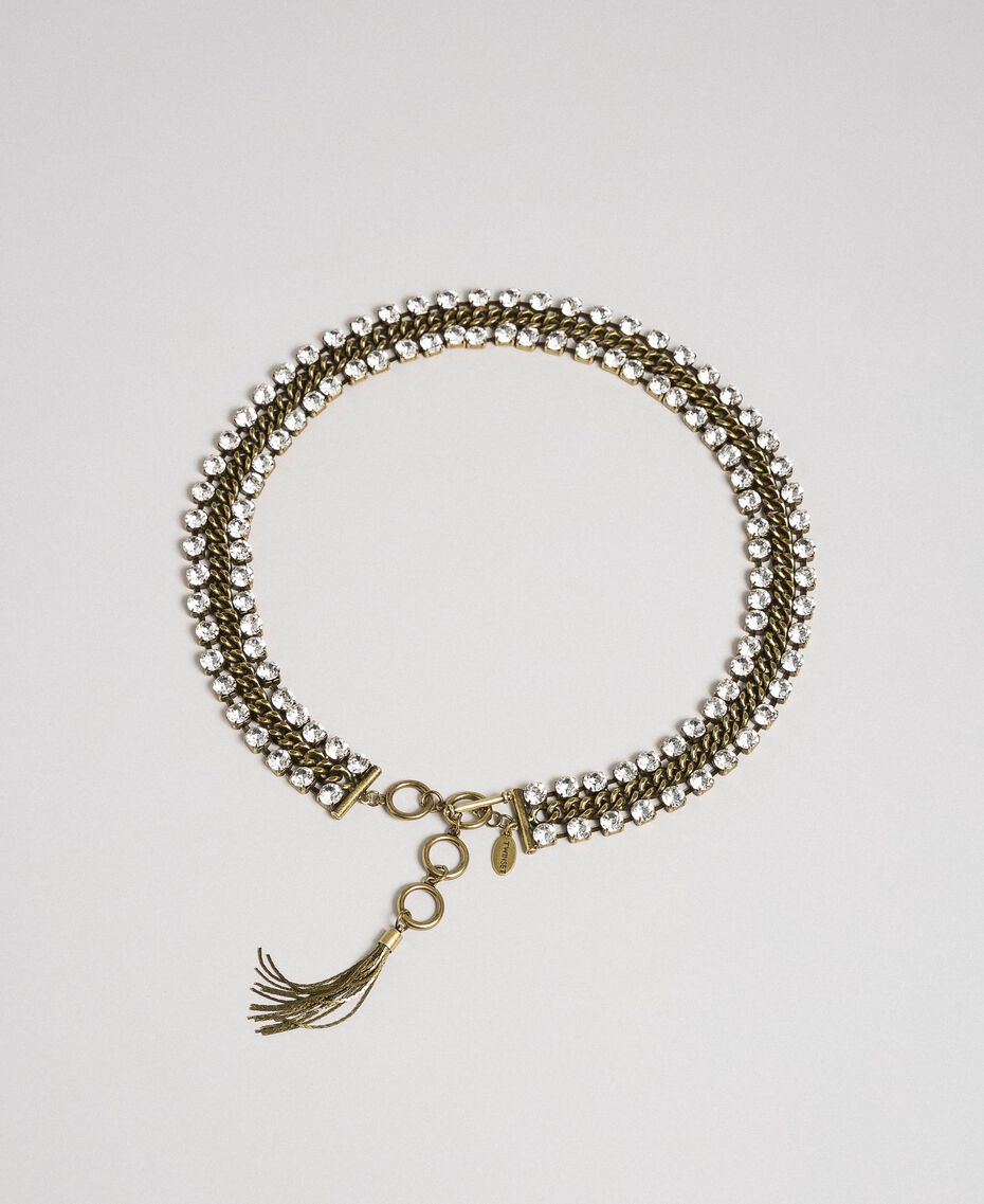 Cinturón-joya de cadena con strass y napa Cristal Mujer 192TO5340-01
