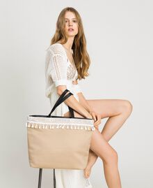 "Beach bag with lace and mini tassels ""Milkway"" Beige Woman 191LB4ZLL-0S"