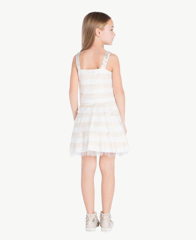 Kleid mit Strass Zweifarbig Chantilly / Papyrusweiß Kind GS8LBA-04