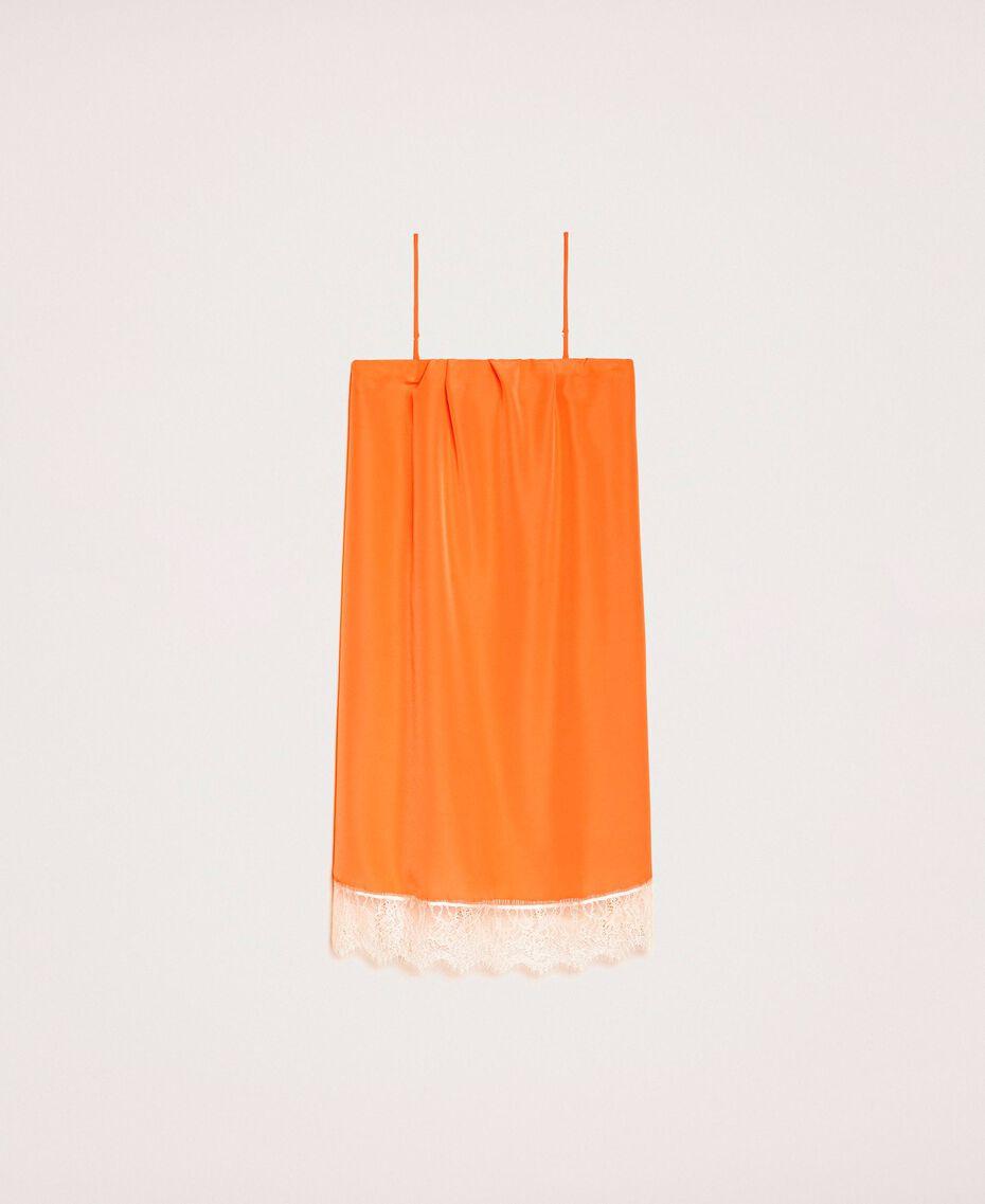 Robe nuisette avec dentelle Bicolore Orange «Calendula» / Blanc Cassé Femme 201MT2282-0S