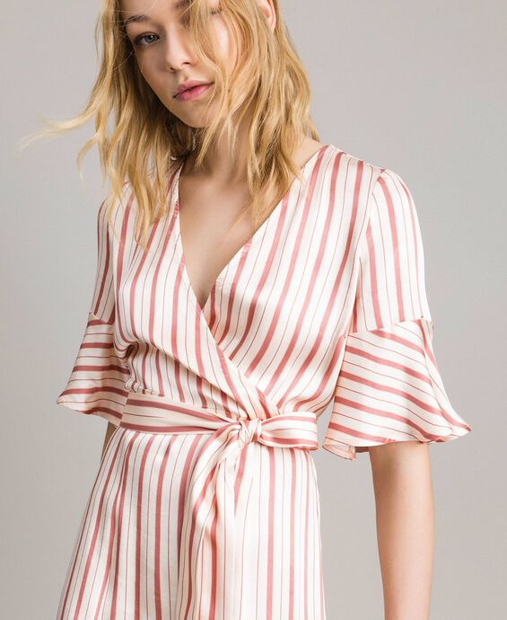 Striped satin wrap dress