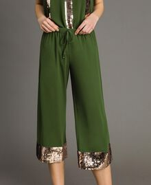 Cropped trousers with sequins Amazon Green Woman 191LM2CBB-04