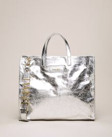 Leather shopper with logo White Snow Woman 201TA7090-02