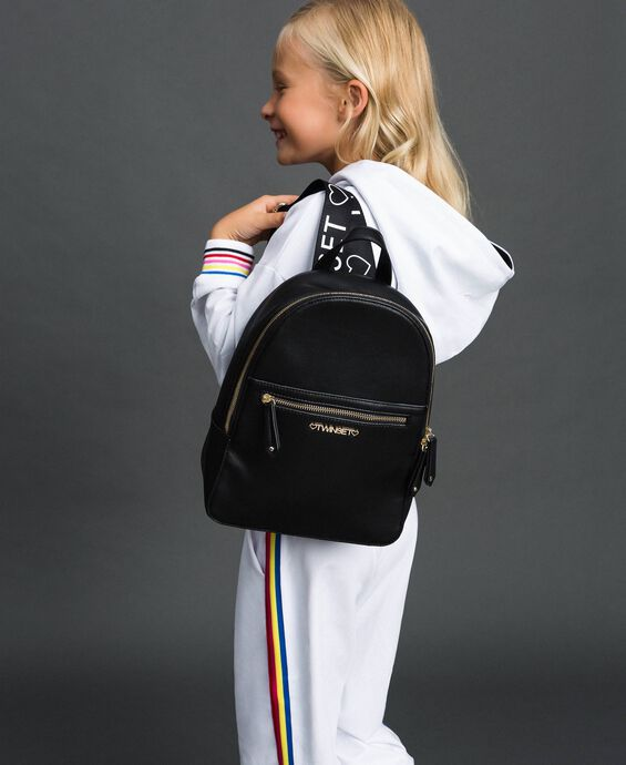 Faux leather backpack with logo