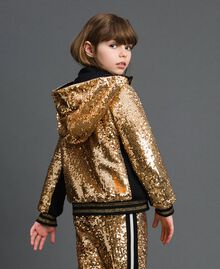 "Velvet bomber jacket with sequins ""Spelt"" Beige Child 192GJ2090-03"