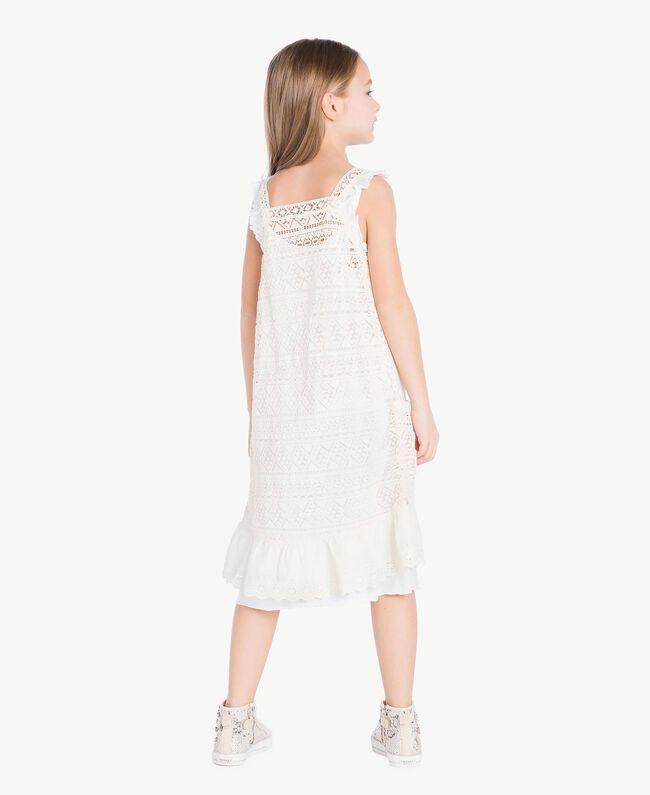 Kleid mit Spitze Zweifarbig Papyrusweiß / Chantilly Kind GS82Z3-04