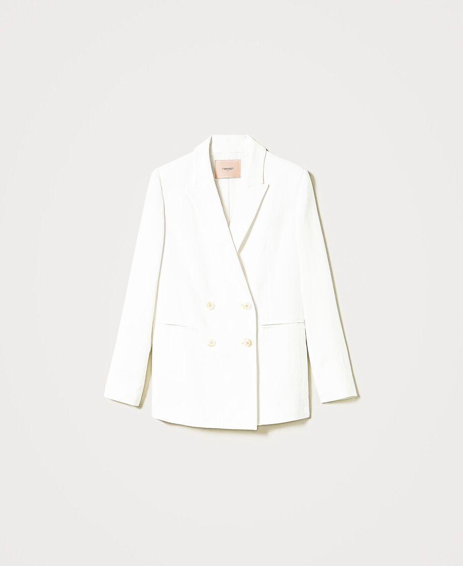 """Linen blend jacket """"Silk"""" White Woman 211TT2582-0S"""