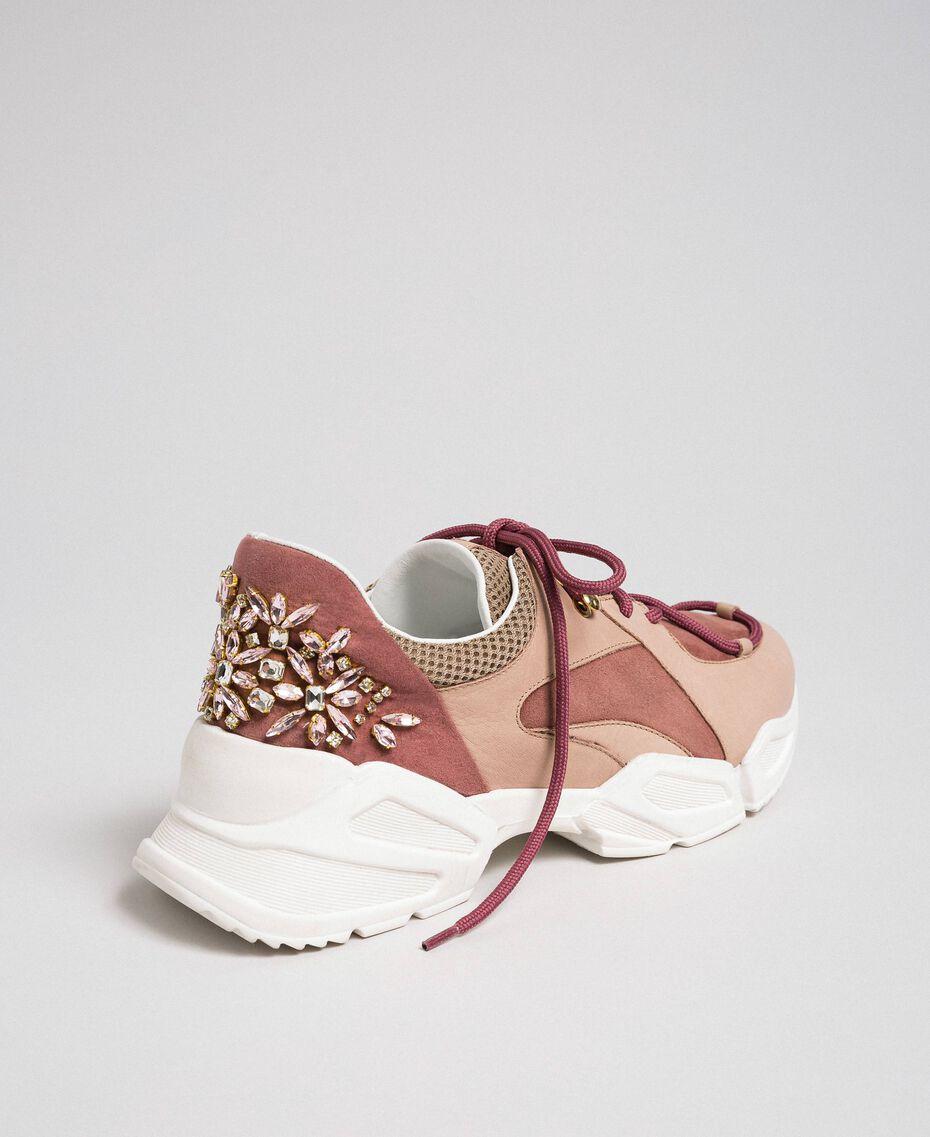 Chaussures de running en cuir avec strass Rose «Rose Nude» Femme 192TCT112-02
