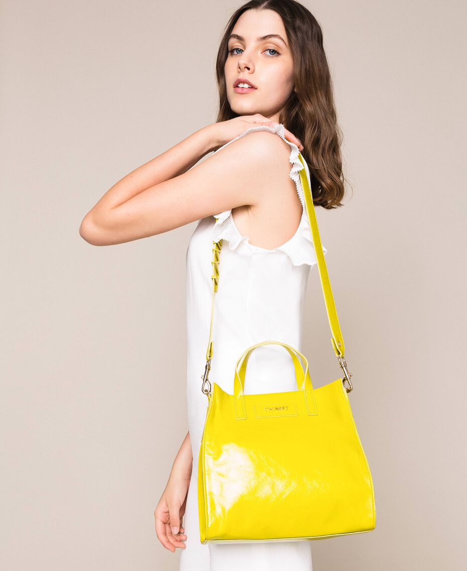 Medium leather shopper with logo Lime Yellow Woman 201TO8091-0S