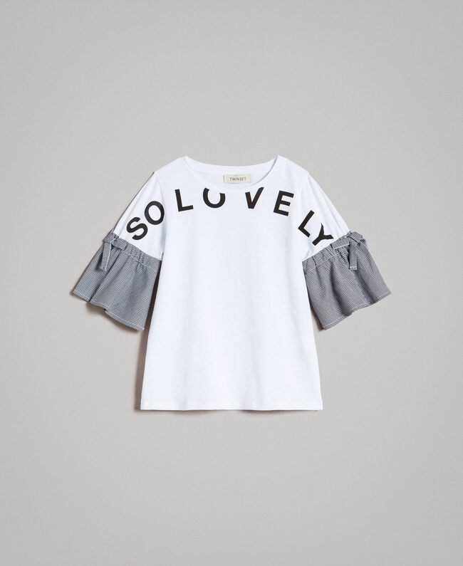 T-shirt en jersey avec volants en vichy Bicolore Blanc Optique / Vichy Enfant 191GJ2731-01