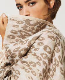 "Animal print jacquard wool cloth poncho ""Dune"" Beige Animal Print Woman 202MA432F-05"