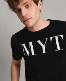 T-shirt en crêpe de coton orné du logo Bicolore Noir / Blanc Opaque Homme 191UT3041-01