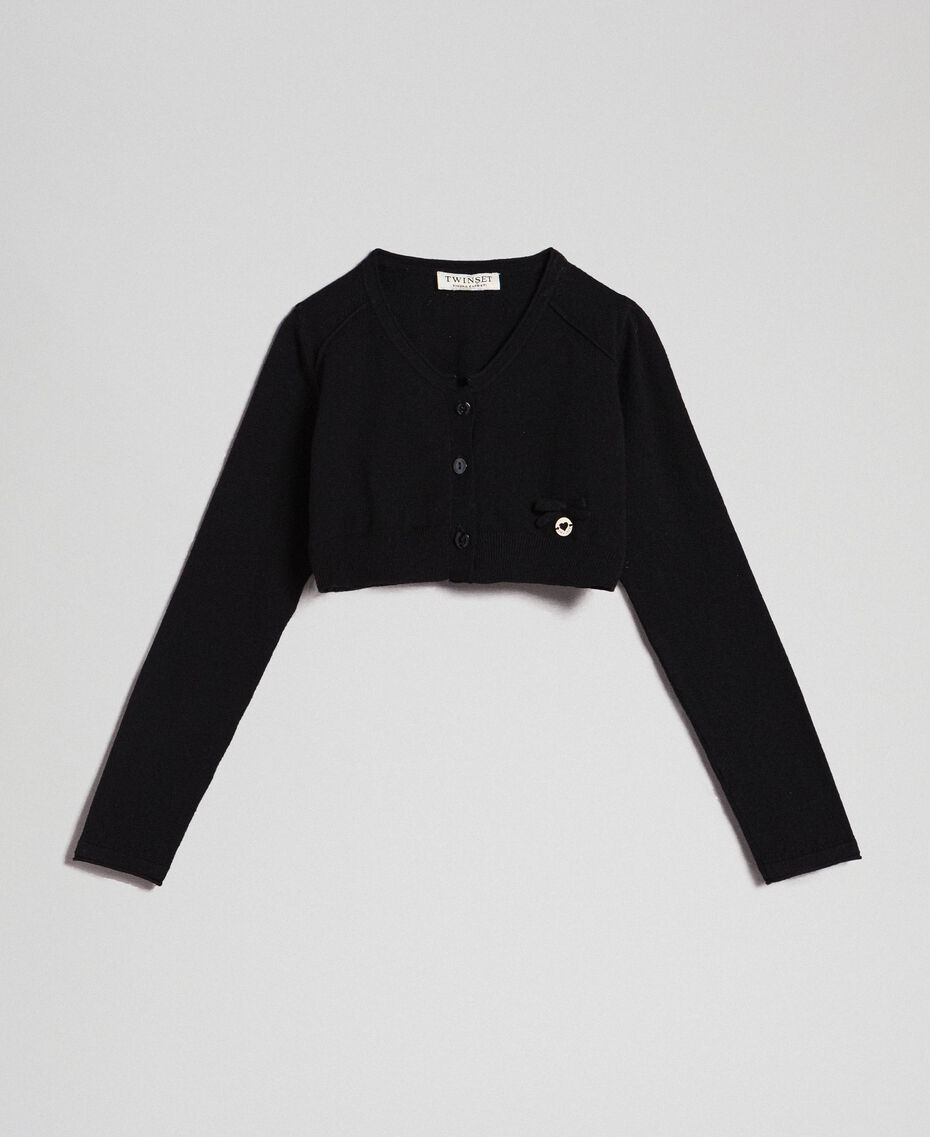 Cardigan with bow and logo Black Child GCN3AA-0S