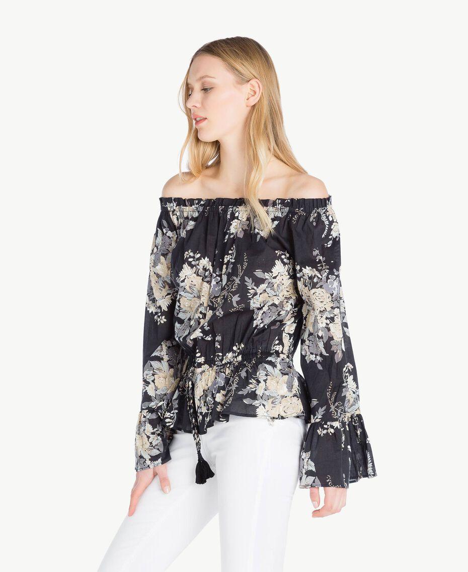 Bluse mit Print Blumenbouquetprint Schwarz Frau YS82PF-02