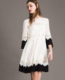 """Georgette dress with lace Bicolour """"Snow"""" White / Black Woman 191TT2102-02"""