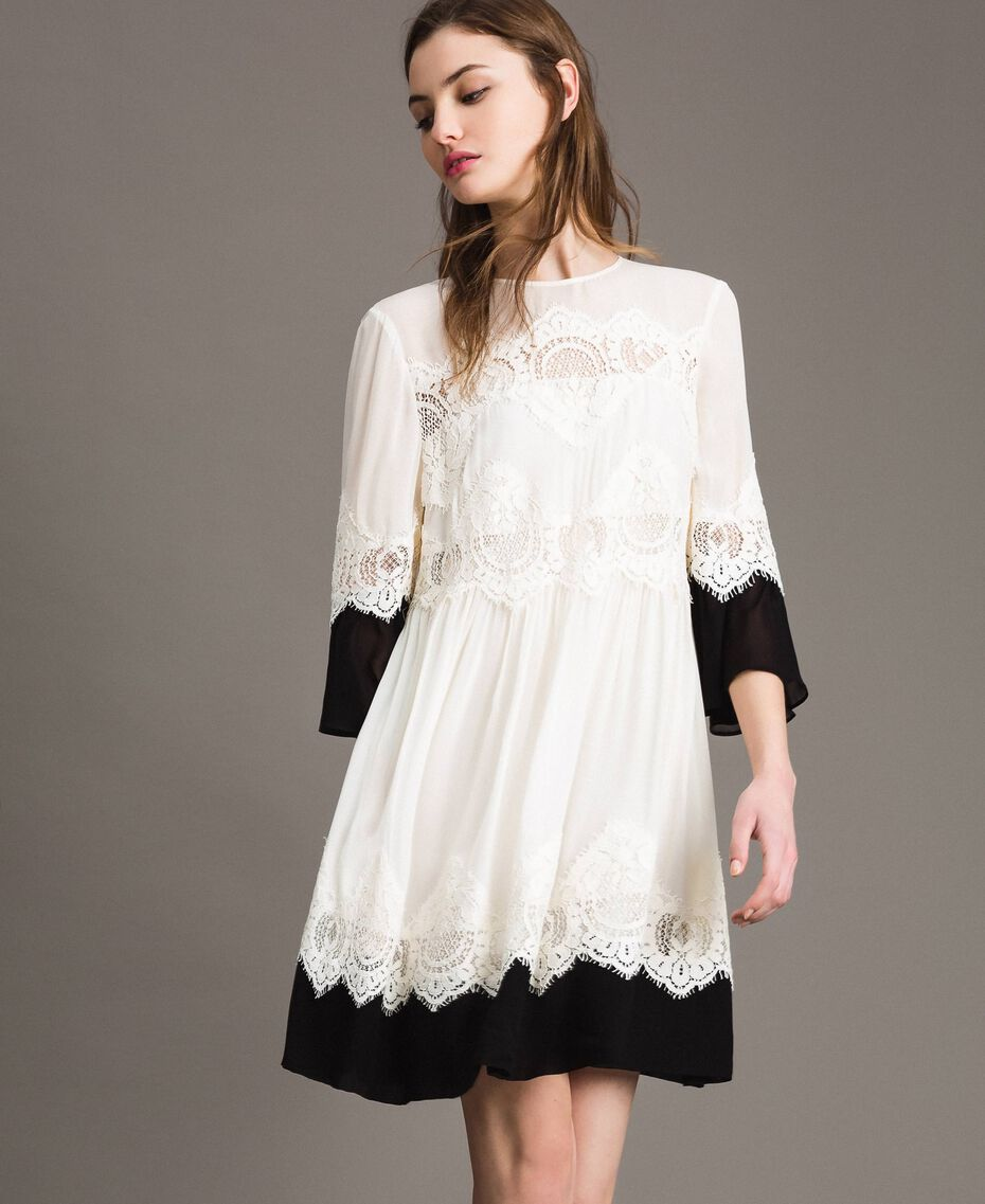 Robe en georgette agrémentée de dentelle Bicolore Blanc Neige/ Noir Femme 191TT2102-02