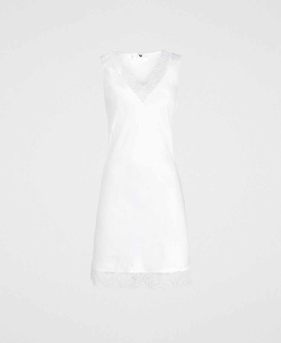Slip dress in satin and lace Ivory Woman 191LL2DBB-0S