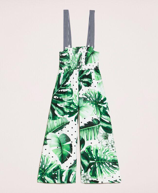 Tropical print jumpsuit/trousers Green Polka Dot Tropical Print / Vichy Child 201GJ2301-0S