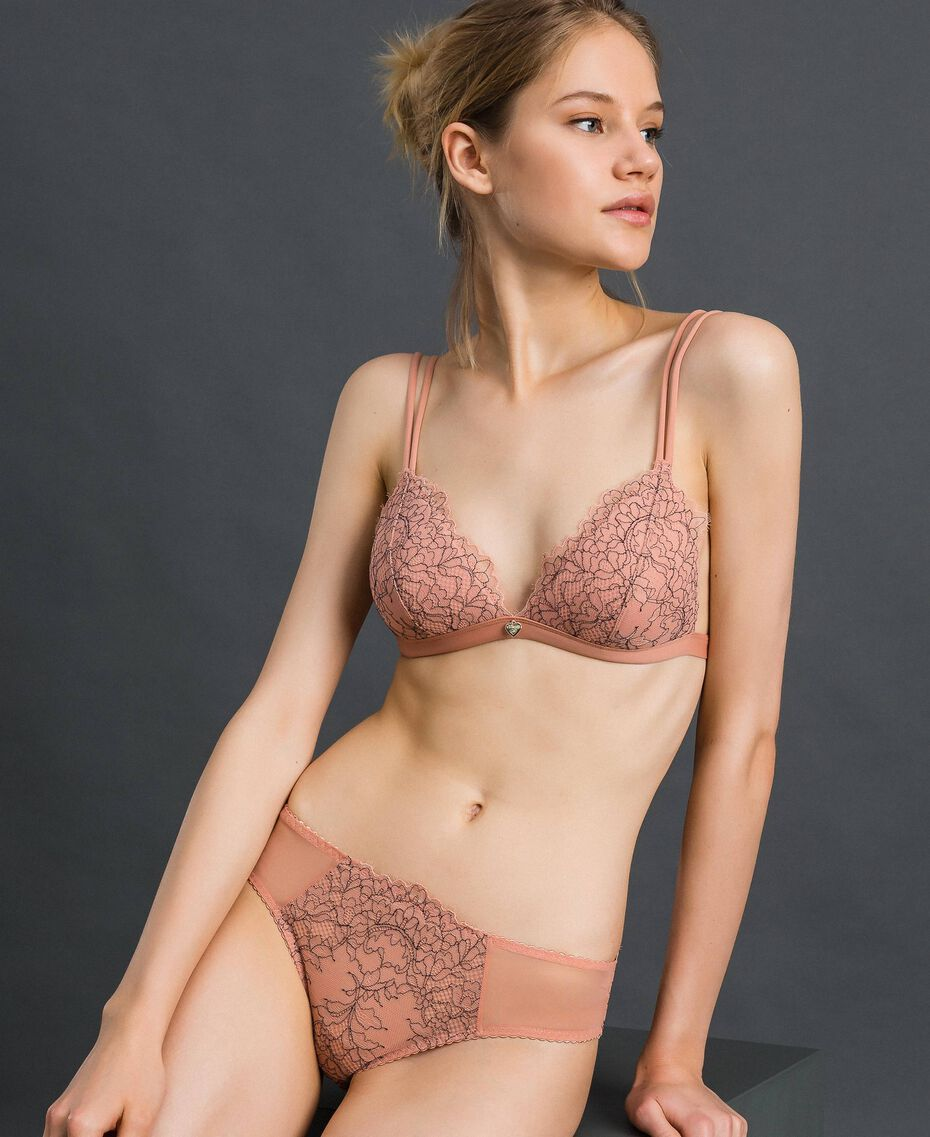 Two-tone lace briefs Peach Rose / Black Woman 192LI6466-01
