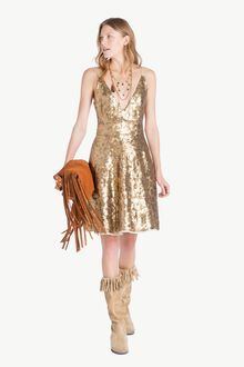 All over sequin dress Gold Yellow Woman TS82ET-05