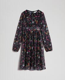 Tüllkleid aus Georgette mit Blumenprint Print Erdbeeren und Himbeeren Kind 192GJ2505-0S