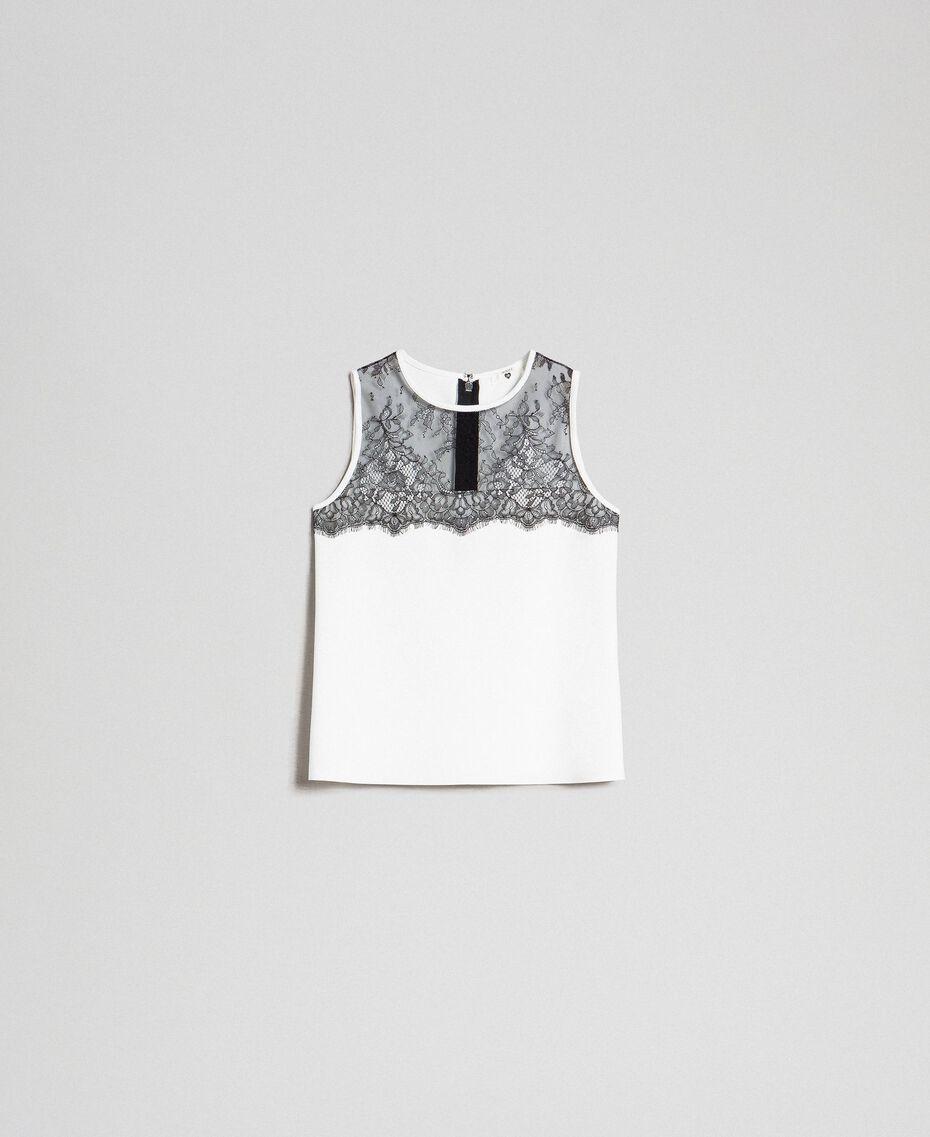 Scuba top with lace Ivory Woman 192LI2WDD-0S