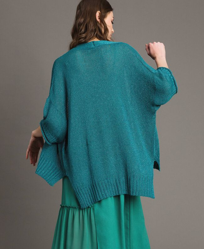 V-neck maxi cardigan Tile Blue Woman 191TT3141-03