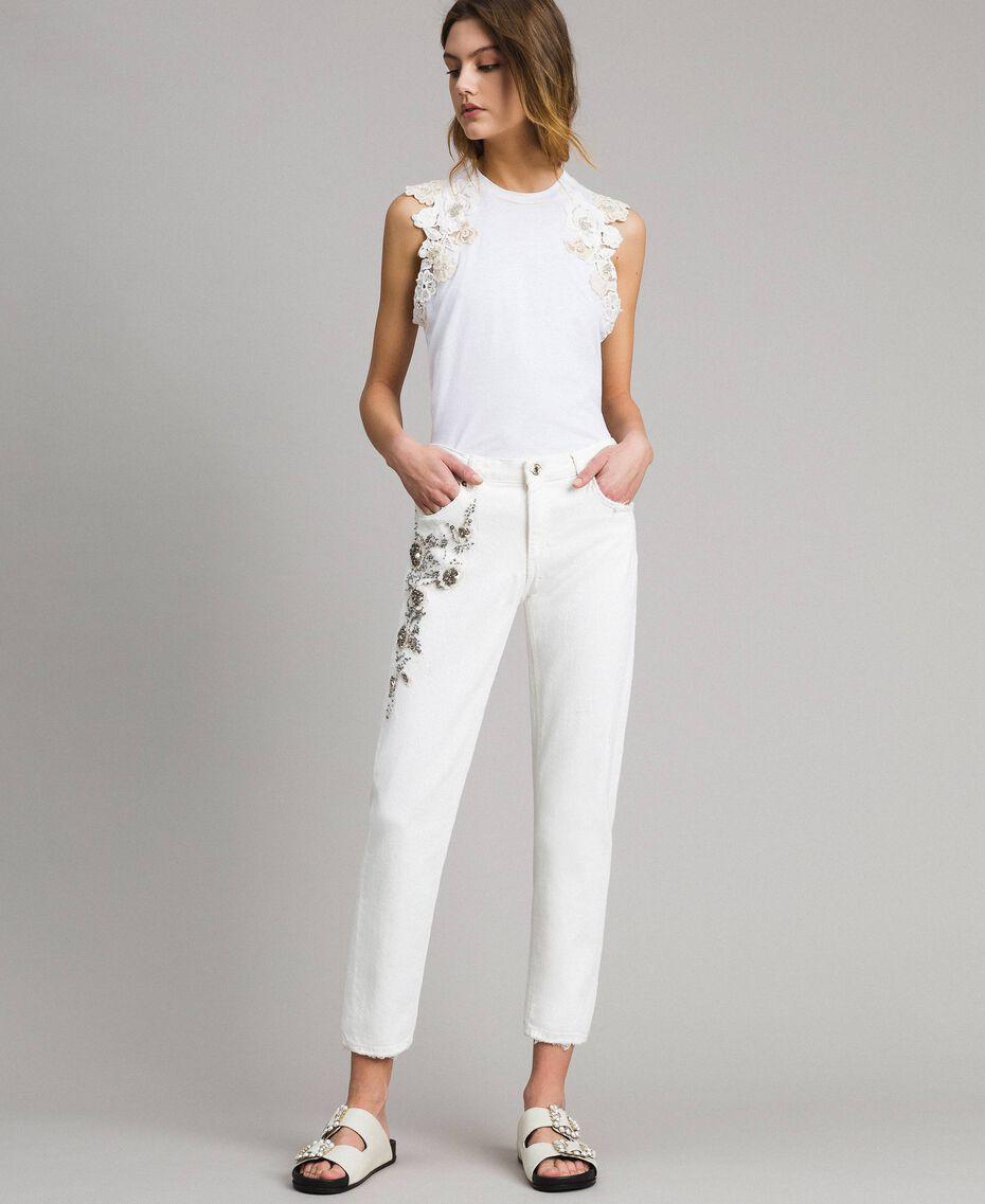 Pantalon en drill avec broderie Blanc Femme 191TT2520-02