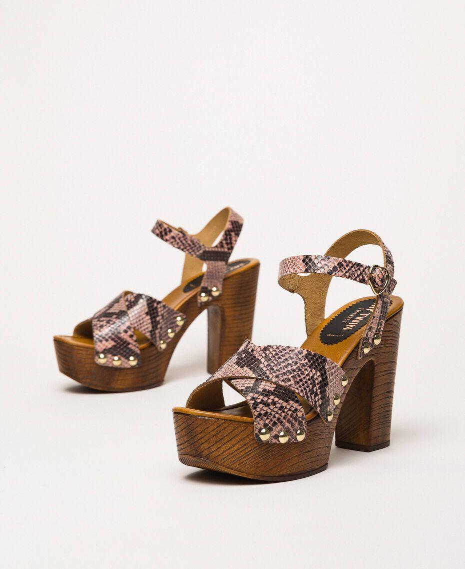 Animal print faux leather clog sandals Wild Rose Python Print Woman 201MCT01C-02