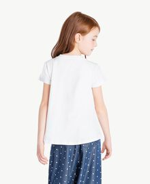 "Embroidered T-shirt Two-tone ""Papyrus"" White / Ocean Blue Child GS82JD-04"