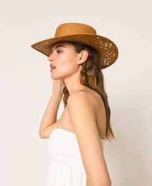 Straw hat with shells and rhinestones Black Woman 201TO5401-0T