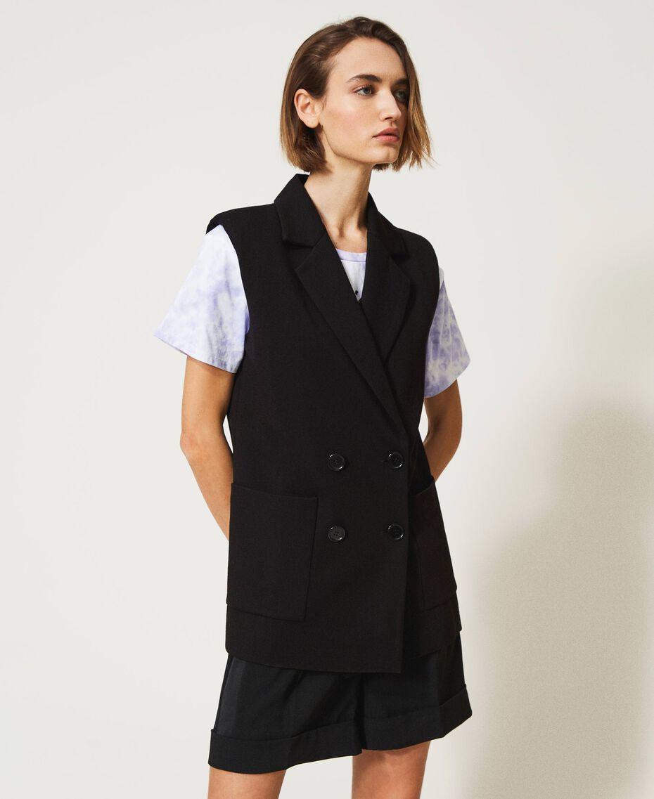 Oversize-Weste mit Taschen Schwarz Frau 211MT2360-02