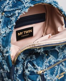 Denim patchwork-effect backpack Arabian Blue Woman 191MA7080-05