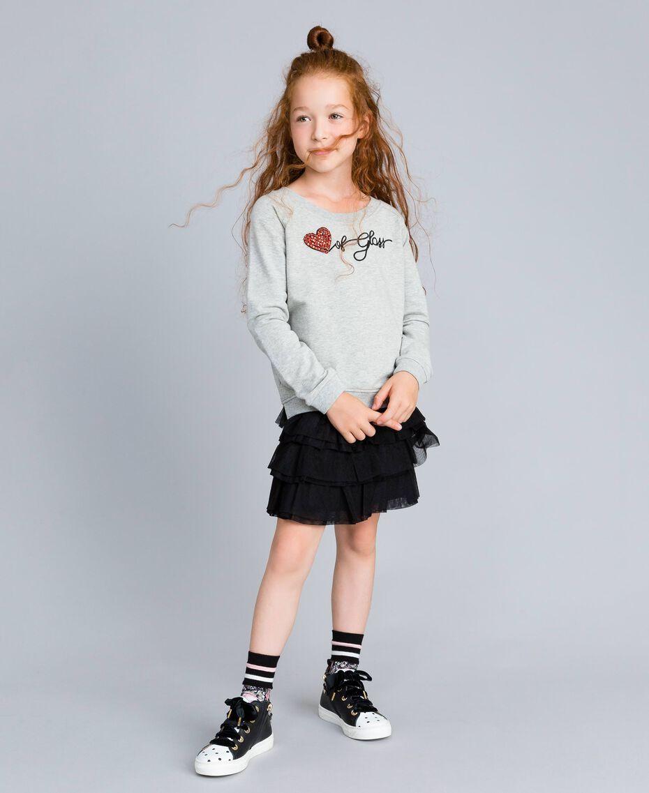 Maxisweatshirt aus Viskose Hellgrau-Mélange Kind GA82R1-0S