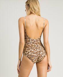 "Leopard print one-piece underwired swimsuit ""Petra Sandstone"" Brown Animal Print Woman 191LMMUXX-03"