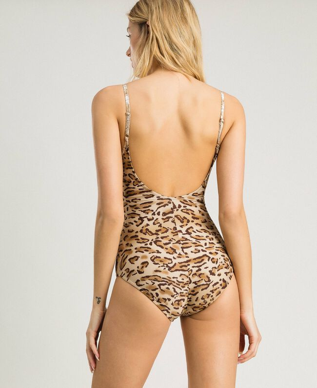 "Leopard print one-piece underwired swimsuit ""Petra Sandstone"" Brown Animal Print Woman 191LMMUXX-03"