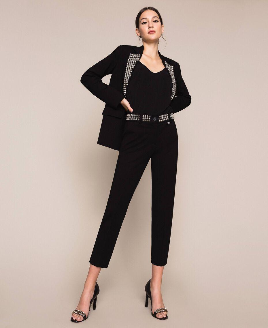 Pantalon cigarette avec clous Noir Femme 201MP2214-01