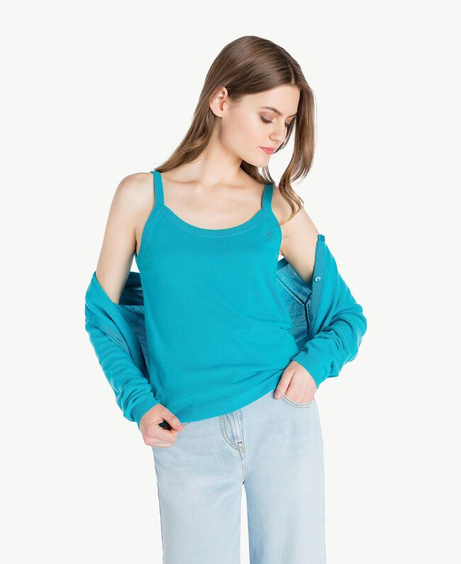 Cashmere tank top Turquoise Woman PS83EK-01