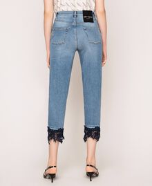 Cropped jeans with lace Denim Blue Woman 201MP227G-04