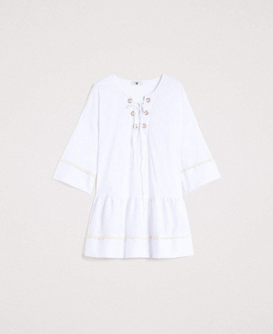 Caftan en popeline Blanc Femme 191LB2JEE-0S