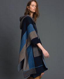 Cape en laine mélangée avec motifs jacquard Jacquard Chevrons Bleu Nuit Femme 192ST3030-02
